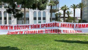 Göztepe, işadamlarına isyan pankartı astı