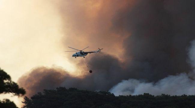 Orman yangınlarına müdahele helikopterden görüntülendi