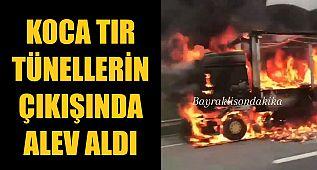 İzmir'de TIR böyle yandı
